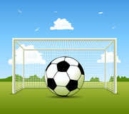 Vector Soccer ball on the green field Royalty Free Stock Photo