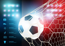 Vector soccer ball in net with France flag background Royalty Free Stock Image