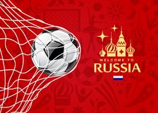 Vector Soccer ball in net, welcome to football cup Royalty Free Stock Images