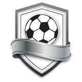Vector soccer ball on the silver background. football emblem for soccer games online, banners, poster Stock Image