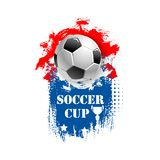 Vector for soccer cup emblem for football club. Soccer cup emblem template for football sport tournament or championship. Vector design of football ball, goal Royalty Free Illustration