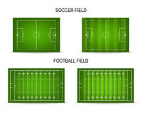 Vector soccer and football fields set Stock Photos