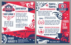 Vector soccer football match tournament poster. Soccer cup championship or football super match tournament announcement posters. Vector design template of soccer Royalty Free Illustration