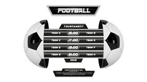 Vector of soccer league with team competition and scoreboard isolated on white background. Football White Banner With 3d. Ball and Scoreboard. Soccer game match Royalty Free Stock Image