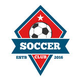 Vector soccer logo, badge, emblem template in red blue Stock Photo
