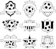 Vector soccer logo and emblems. Banner Stock Photos