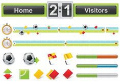 Vector soccer match timeline with scoreboard Royalty Free Stock Photography