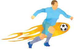 Vector - Soccer player kicks the ball. The colorful  illustration Royalty Free Stock Photography