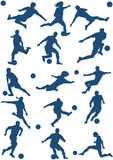 Vector of Soccer players. 15 Silhouettes of Soccer (football) player Stock Photography