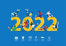 Vector soccer players in action on 2022 new year. Soccer players in action on 2022 new year, Vector illustration layout template design Stock Images