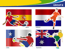 Vector soccer players with brazil 2014 group B Royalty Free Stock Images