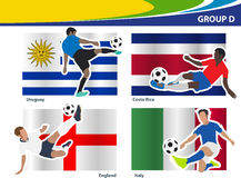 Vector soccer players with brazil 2014 group D Stock Image