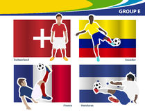 Vector soccer players with brazil 2014 group E Stock Photography