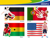 Vector soccer players with brazil 2014 group G stock illustration