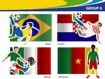 Vector soccer players with brazil 2014 group A. Soccer players with brazil 2014 group A, Vector illustration Royalty Free Stock Photography