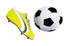 Vector soccer shoe and ball Stock Image