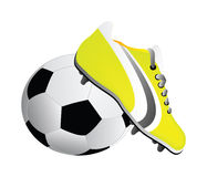 Vector soccer shoe and ball Stock Photos