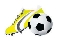 Vector soccer shoe and ball Royalty Free Stock Photos