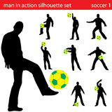 Vector soccer silhouette set Royalty Free Stock Photography