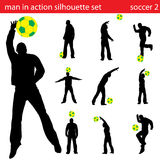 Vector soccer silhouette set Stock Photos