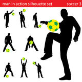 Vector soccer silhouette set Stock Photo