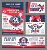Vector soccer team college football match posters. Soccer college team match posters and banners design template for football cup championship. Vector soccer Stock Image