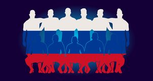 Vector soccer team flag design russia wallpaper sport soccer pla. Yers line up national  background football championship world cup russia 2018 Royalty Free Stock Images