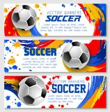 Vector soccer team football championship banners. Soccer banners for football championship or fan club and sports league team. Vector backgrounds of yellow, blue Stock Image