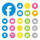 Vector social de los iconos del botón de Facebook medios stock de ilustración