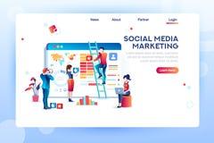 Vector social del concepto del Analytics contento medios stock de ilustración