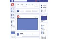 Vector social del interfaz de la página del concepto de la página web stock de ilustración