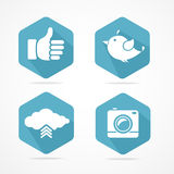 Vector social icons set. Flat Design Royalty Free Stock Image