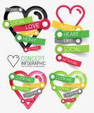 Vector social like heart infographic, tags Royalty Free Stock Photos