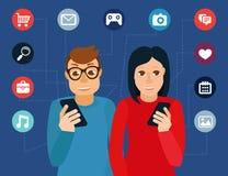 Vector social media addiction concept Royalty Free Stock Photo