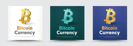 Vector social media banners with a 3d crypto currency  bitcoin i. Con. The design of the square templates is white, black and blue for the web. Set Royalty Free Stock Photography