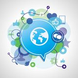 Vector social media concept. Abstract illustration with circles and icons Stock Images