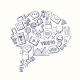 Vector social media hand drawn elements gathered in form of speech bubble. Illustration. Network web sketch social media Stock Image