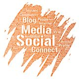 Vector social media networking or communication. Vector conceptual social media networking or communication web marketing technology brush or paint word cloud Royalty Free Stock Images