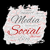 Vector social media networking or communication web marketing technology word cloud. Vector conceptual social media networking or communication web marketing Stock Photos