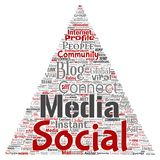 Vector social media networking  communication web. Vector conceptual social media networking or communication web marketing technology triangle arrow word cloud Royalty Free Stock Photography