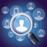 Vector social media networking concept. Magnifying glass and people icon Stock Photography