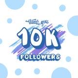Vector social media template. 10K followers. 10k followers social media template. Banner for internet networks. 10000 subscribers thank you congratulation post stock illustration