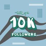 Vector social media template 10 K followers. 10k followers thank you social media template. Banner for internet networks with zebra striped pattern. 10000 royalty free illustration