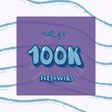 Vector social media template. 100k followers thank you. 100k followers thank you social media template with creative letterig and brush lines decoration. Square vector illustration
