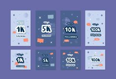 Vector social media templates. Banners of 1K, 5K, 10K, 100K followers. Vector flat set of social media templates for internet networks. Banners of 1K, 5K, 10K vector illustration