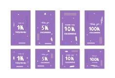 Vector social media templates set 1K, 5K, 10K, 100K. Set of banners for internet networks. 1K, 5K, 10K, 100K followers thank you social media templates for vector illustration