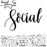 Vector social media word. Lettering for your blog. Hand drawn elements for decoration Royalty Free Stock Photos