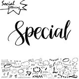 Vector social media word. Lettering for your blog. Hand drawn elements for decoration Royalty Free Stock Image
