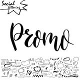 Vector social media word. Lettering for your blog. Hand drawn elements for decoration Stock Photo