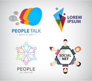 Vector social net logo, people connection logo. Teamwork, group of people, training Royalty Free Stock Photos